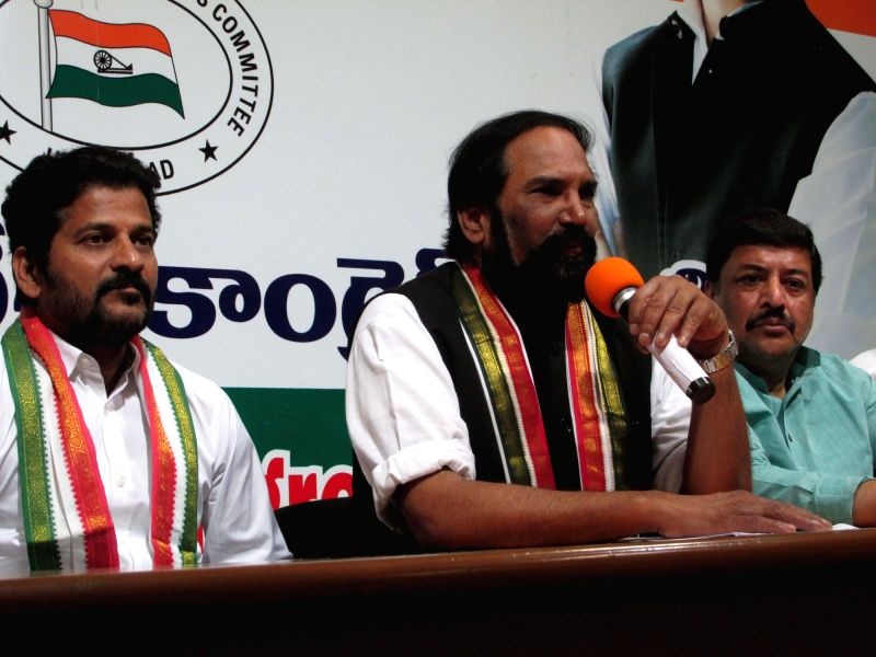 Telangana Congress President N. Uttam Kumar Reddy addresses a press conference, in Hyderabad on July 21, 2018.