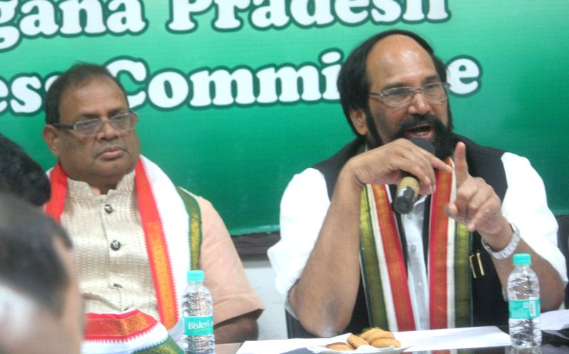 Telangana Congress president N. Uttam Kumar Reddy addresses during a party meeting, in Hyderabad on July 25, 2018.