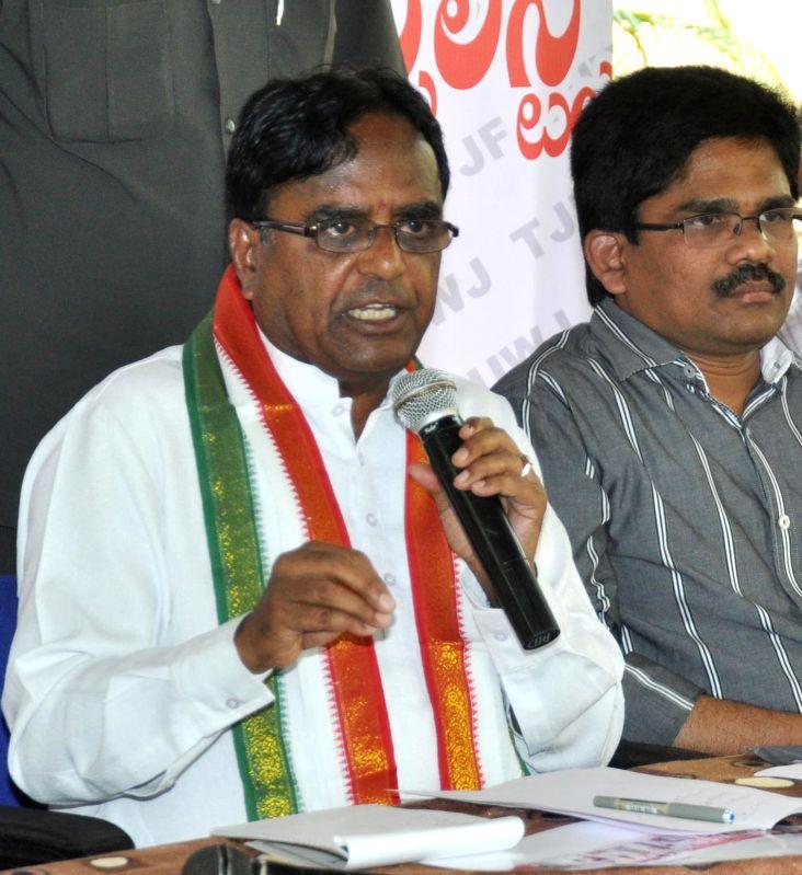 Telangana Congress president Ponnala Lakshmaiah addresses a press conference in Hyderabad on April 14, 2014.