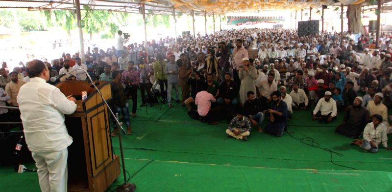 Telangana Deputy Chief Minister Mohammed Mahmood Ali addresses during the Muslim Organisation's All Party protest meet over atrocities against Rohingya Muslims in Hyderabad on Sept 10, ... - Mohammed Mahmood Ali