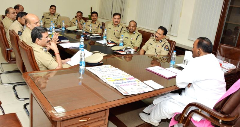 Telangana Home Minister Nayani Narasimha Reddy during a meeting with top police officials in Hyderabad on July 1, 2014. - Nayani Narasimha Reddy