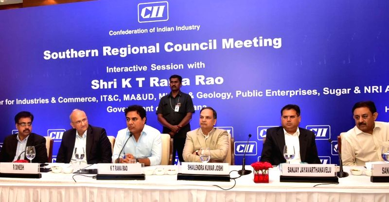 Telangana Information Technology, Municipal Administration and Urban Development, Industries and Commerce, and NRI Affairs Minister K. T. Rama Rao addresses during a meeting of the CII ... - K. T. Rama Rao