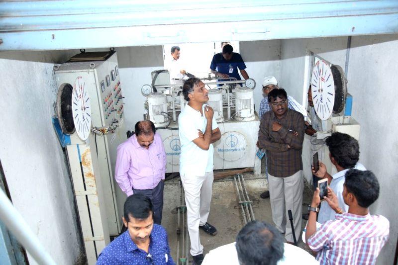 Telangana Irrigation Minister Harish Rao inspects ongoing work at the Kaleshwaram lift irrigation project (KLIP) on July 13, 2018. - Harish Rao