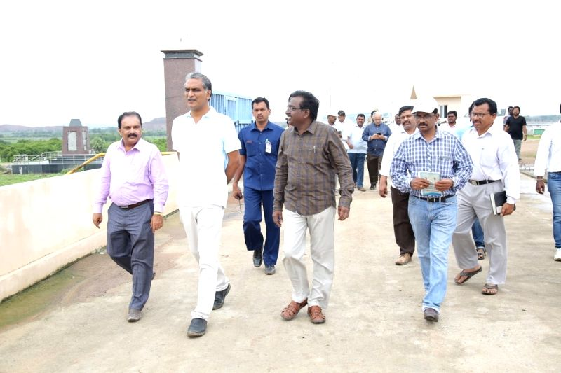 Telangana Irrigation Minister Harish Rao inspects ongoing work at the Kaleshwaram lift irrigation project (KLIP) on July 13, 2018. - Harish Rao