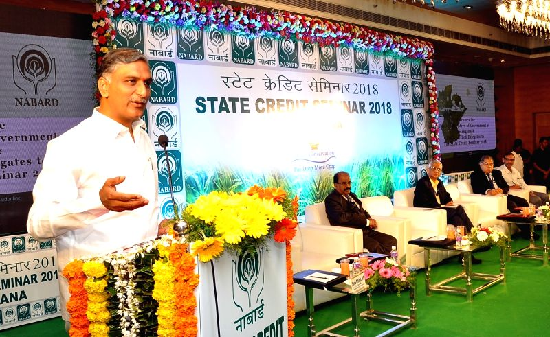 Telangana Irrigation Minister T. Harish Rao addresses during the National Bank for Agricultural and Rural Development (NABARD) seminar in Hyderabad on Jan 30, 2018. - T. Harish Rao