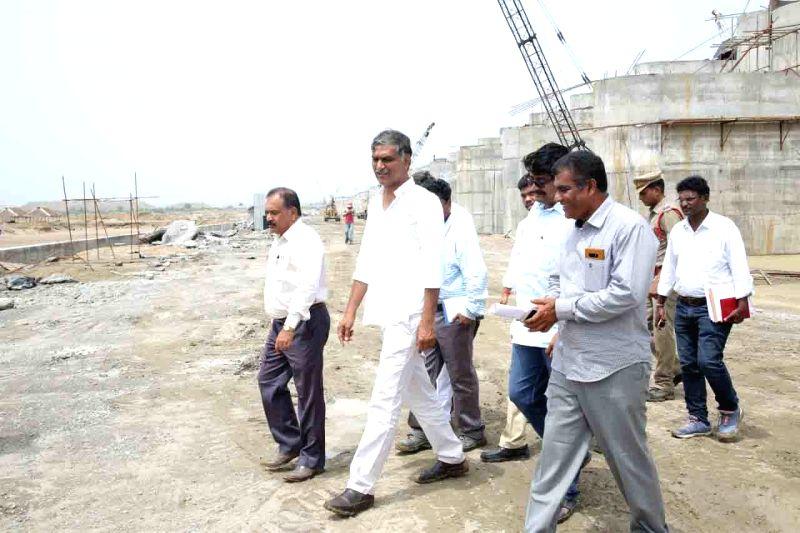Telangana Irrigation Minister T. Harish Rao during his visit to inspect the ongoing work on Kaleshwaram Lift Irrigation Project (KLIP) in Telangana's Karimnagar district on June 12, 2018. - T. Harish Rao