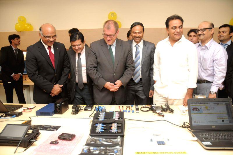 Telangana IT and Panchayat Raj Minister Kalvakuntla Taraka Rama Rao during inauguration of and advanced Cyber Forensics & eDiscovery Lab in Hyderabad on July 7, 2014. - Kalvakuntla Taraka Rama Rao