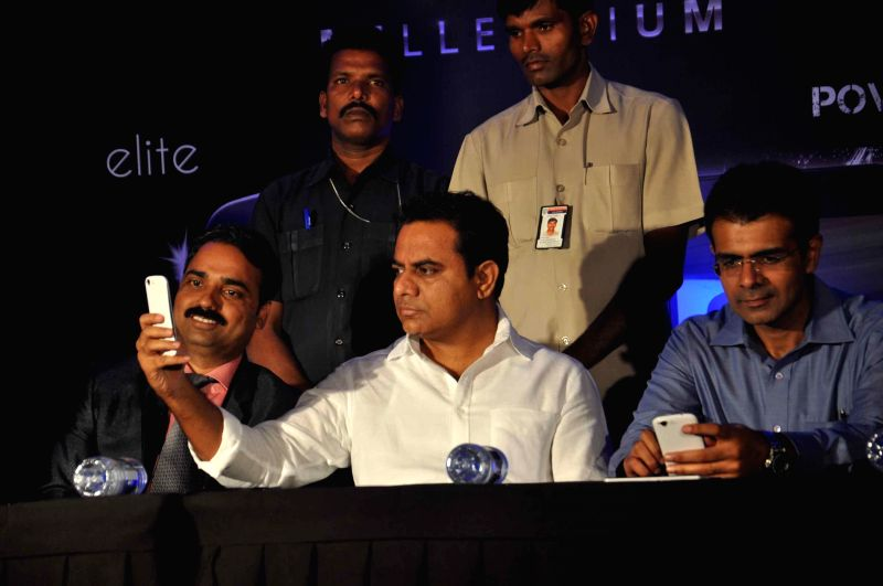 Telangana IT and Panchayat Raj Minister Kalvakuntla Taraka Rama Rao during launch of Celkon's smartphones in Hyderabad on July 15, 2014. - Kalvakuntla Taraka Rama Rao
