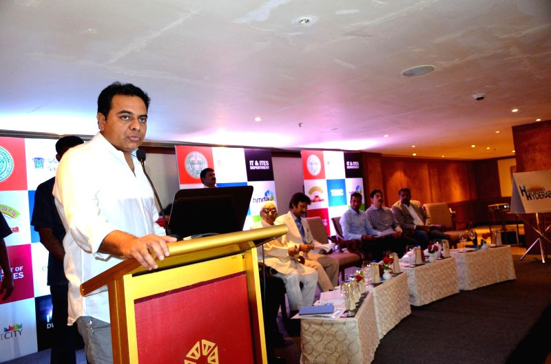 Telangana IT Minister K T Rama Rao during a press conference in Hyderabad on Aug 14, 2014.
