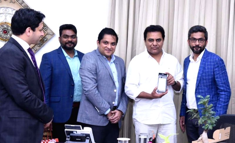 Telangana IT minister K.T. Rama Rao launches the new Point of Sale (PoS) device with Android Operating System, in Hyderabad on July 18. 2018. - K. and T. Rama Rao