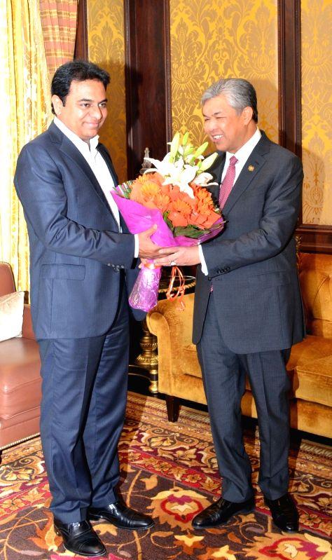 Telangana IT Minister K T Rama Rao meets Malaysian Deputy Prime Minister Ahmad Zahid Hamidi in New Delhi on July 19, 2016. - K T Rama Rao