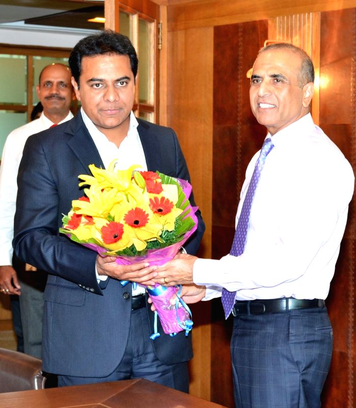 Telangana IT Minister K T Rama Rao meets Bharti Enterprises' Chairman Sunil Bharti Mittal in New Delhi on July 19, 2016. - K T Rama Rao