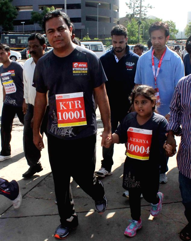 Telangana IT Minister K T Rama Rao participates in Hyderabad Marathon on Aug 24, 2014. - K T Rama Rao