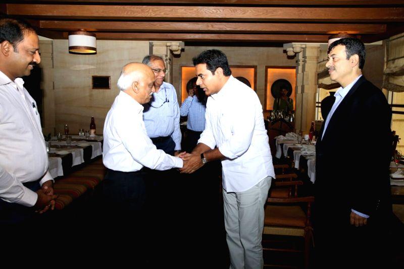 Telangana IT Minister KT Rama Rao meets ISRO chairman AS Kiran Kumar in Hyderabad on Aug. 6, 2016. - Kiran Kumar and Rao