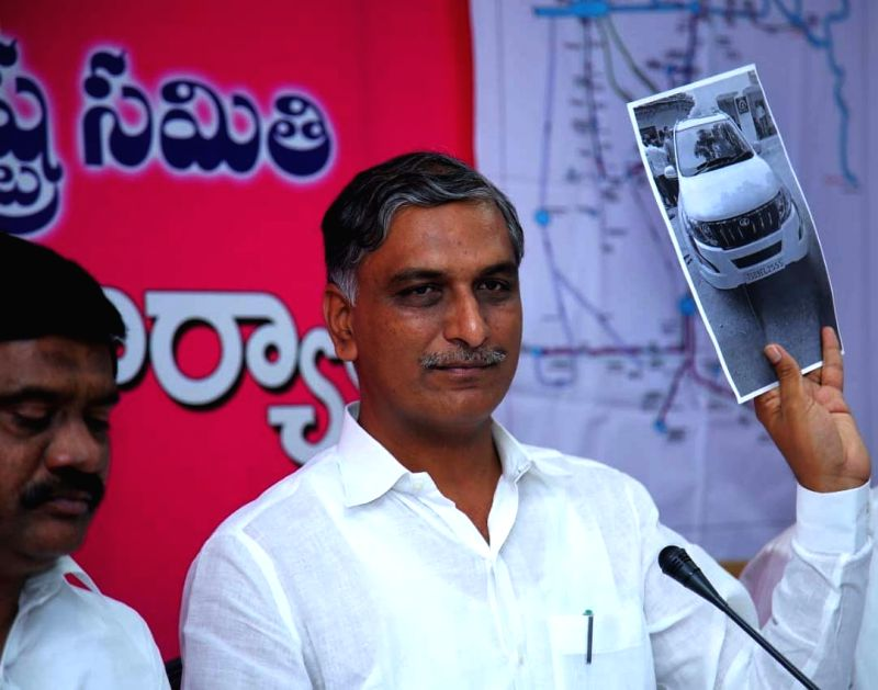 Telangana Minister and TRS leader T. Harish Rao addresses a press conference at the state assembly, in Hyderabad on July 31, 2018. - T. Harish Rao