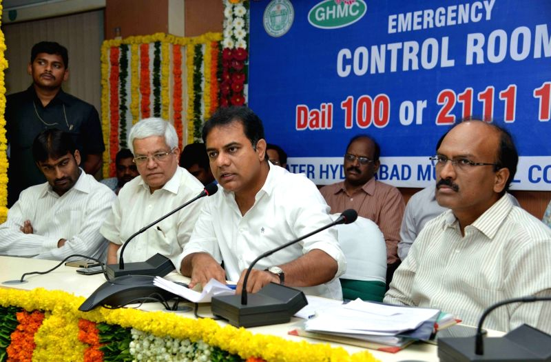 Telangana Minister KT Rama Rao inaugurates Emergency Control Room at Greater Hyderabad Municipal Corporation head office in Hyderabad, on May 19, 2016. - K and Rao