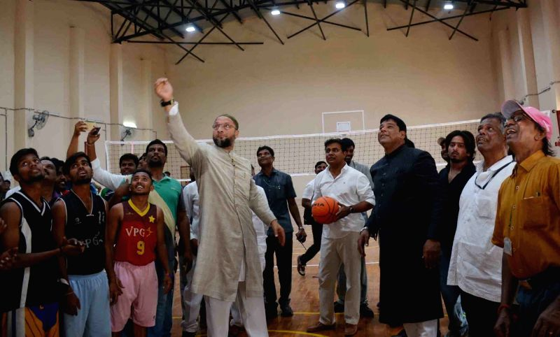 Telangana Municipal administration and IT minister KT Rama Rao and AIMIM President Asaduddin Owaisi during the inauguration of a sports complex in Hyderabad on April 18, 2017. - K and Rao