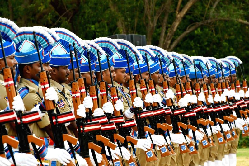 Telangana policemen during a programme organised to celebrate Telangana formation day in Hyderabad, on June 1, 2016.