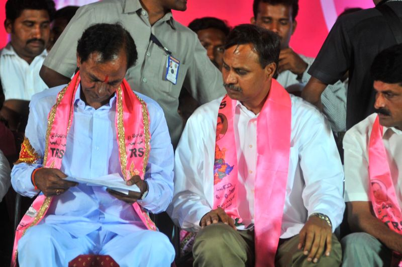 Telangana Rashtra Samithi (TRS) chief K Chandersheker Rao during a party meeting in Nalgonda district of Andhra Pradesh on April 14, 2014. - K Chandersheker Rao