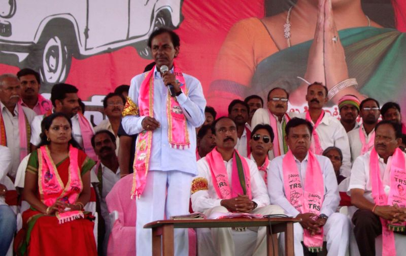 Telangana Rashtra Samithi (TRS) chief K Chandersheker Rao during an election campaign for party's candidate for 2014 Lok Sabha Election from Nizamabad K. Kavitha in Nizamabad on April 21, 2014. - K Chandersheker Rao