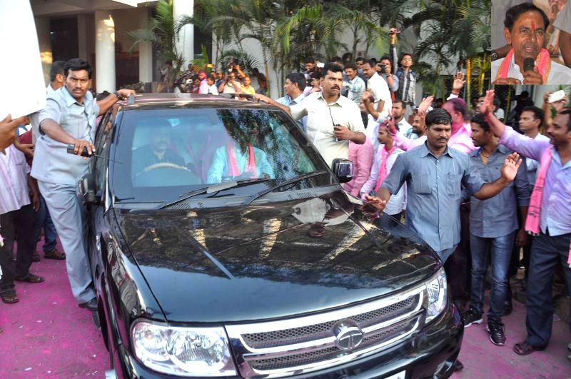Telangana Rashtra Samithi (TRS) chief K Chandersheker Rao leaves amid tight security in Hyderabad  on May 16, 2014.