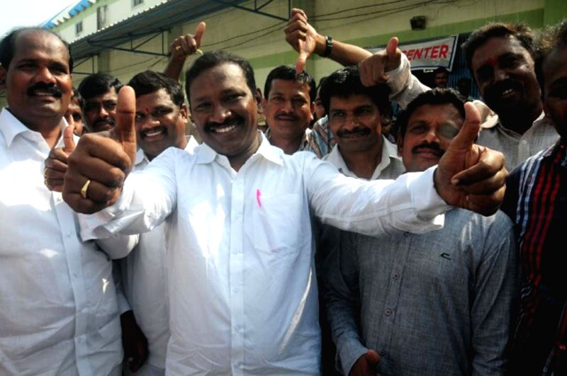 Telangana Rashtra Samithi (TRS) leader Pasunuri Dayakar celebrates after winning the Warangal Lok Sabha seat in Hyderabad on Nov. 24, 2015.