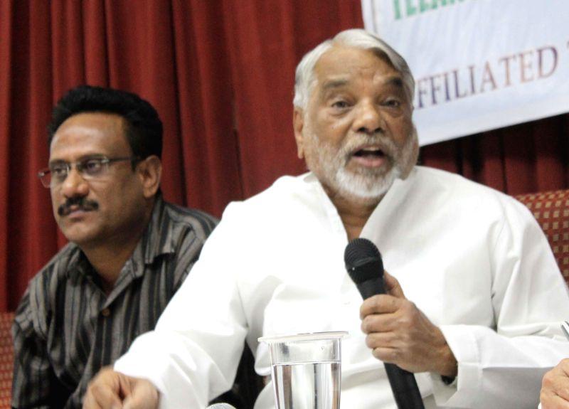 Telangana Rashtra Samithi (TRS) secretary-general K Kesava Rao during a press conference in Hyderabad on April 22, 2014. - K Kesava Rao