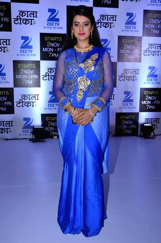 Television actor Akshara Singh during the launch of Zee TV new show Kaala Teeka, in Mumbai, on Oct 27, 2015. - Akshara Singh