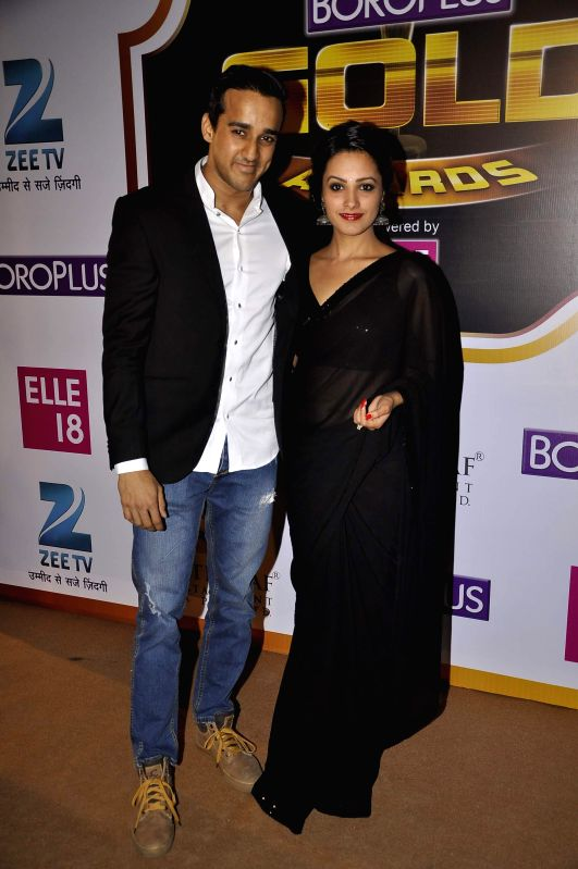 Television actor Anita Hassanandani Reddy during the 7th Boroplus Zee Gold Awards 2014 in Mumbai, on May 17, 2014. - Anita Hassanandani Reddy