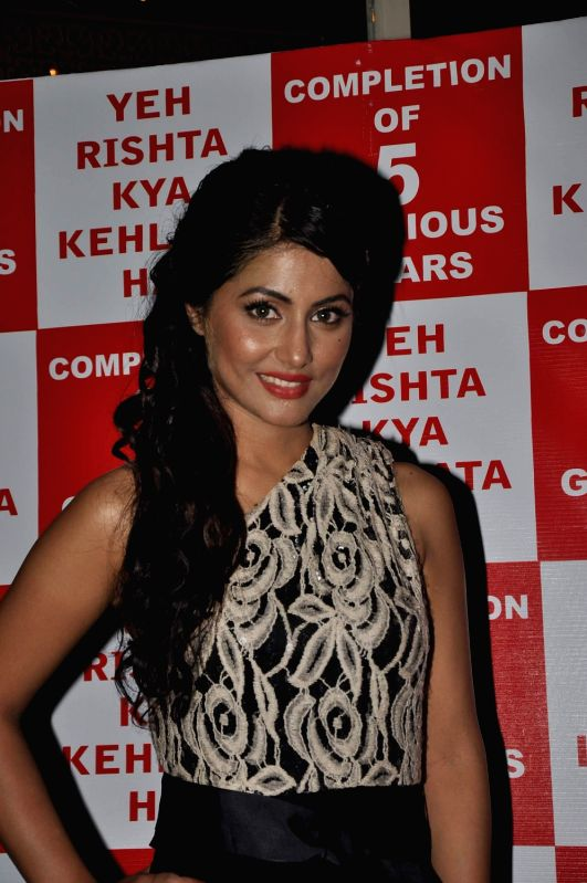 Television actor Hina Khan during the celebration of five year completion of `Yeh Rishta Kya Kehlata Hai` on Star Plus, in Mumbai on January 12, 2014.