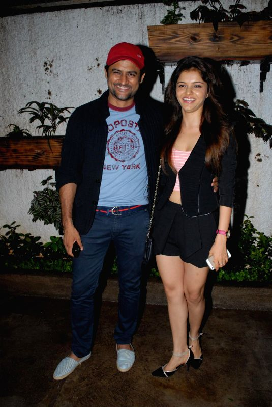 Television actor Manav Gohil and Rubina Dilaik during special screening of film Hate Story 2, in Mumbai on July 17, 2014. - Manav Gohil