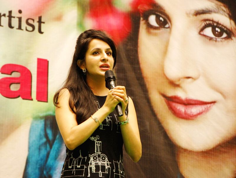 Television actress Roop Durgapal during her visit at a university in Dehradun on Aug. 23, 2014.
