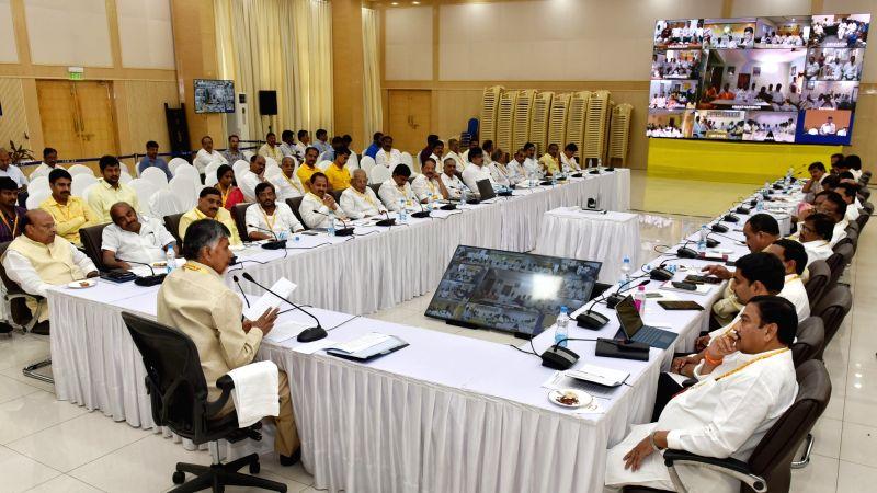 Telugu Desam Party (TDP) chief and Andhra Pradesh Chief Minister N. Chandrababu Naidu chairs the party's coordination committee meeting at his residence in Amaravati, Andhra Pradesh on ... - N. Chandrababu Naidu