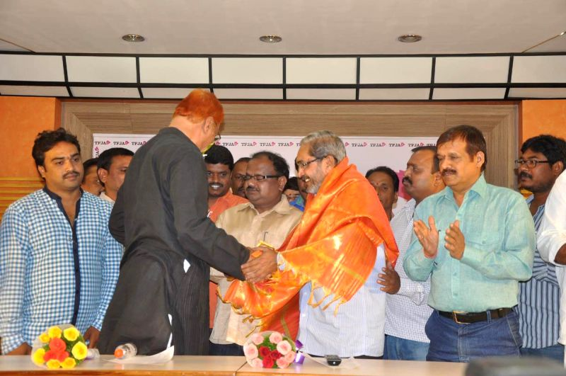 Telugu film Journalists Asssociation felicitated Telangana at Film Chamber Hall in Hyderabad (Photo: IANS).