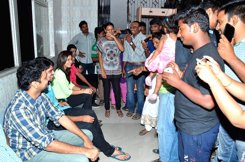 Telugu movie Oohalu Gusa Gusalade team at Bramarambha theater.