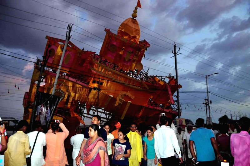 Temporary structures collapse due to strong winds and heavy rains at the Ardh Kumbh Mela in Ujjain, on May 5, 2016.At least seven people were killed and nearly 50 injured.