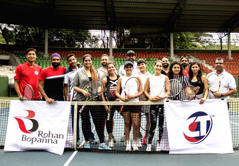 Tennis player Rohan Bopanna at the launch of Cardio Tennis at Karnataka Lawn Tennis Association (KSLTA) , in Bengaluru on July 29, 2018. - Rohan Bopanna