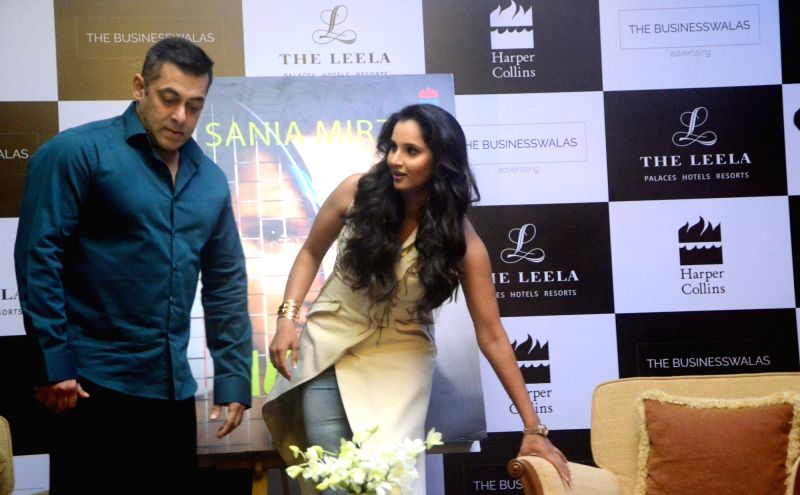 "Tennis player Sania Mirza and actor Salman Khan at the launch of Mirza's autobiography ""Ace Against Odds"" in Mumbai on July 17, 2016. - Salman Khan and Sania Mirza"