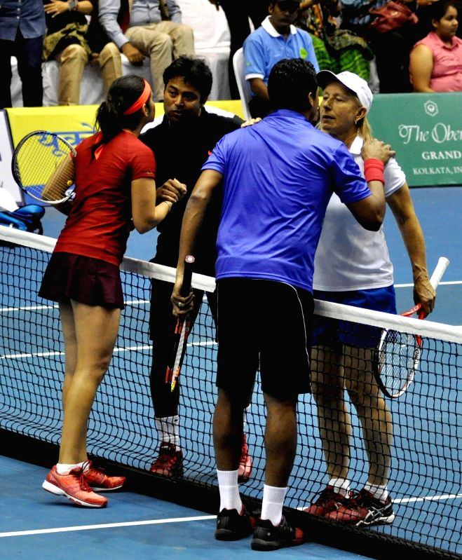 Tennis players Martina Navratilova, Sania Mirza, Mahesh Bhupathi, Leander Paes during a Champions Tennis League (CTL) match in Kolkata, on Nov 25, 2015.