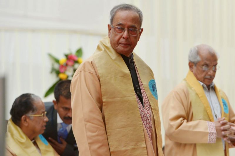 President Pranab Mukherjee during the 12th Convocation of Tezpur University at Tezpur, Assam on Nov 20, 2014.