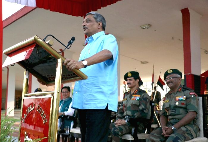 Union Defence Minister Manohar Parrikar addresses troops, at Tezpur Military Station on May 1, 2015.