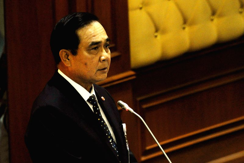 "Thai Prime Minister Prayut Chan-o-cha speaks during a live-broadcast meeting of the ""five rivers"" or the National Council for Peace and Order, the ... - Prayut Chan"