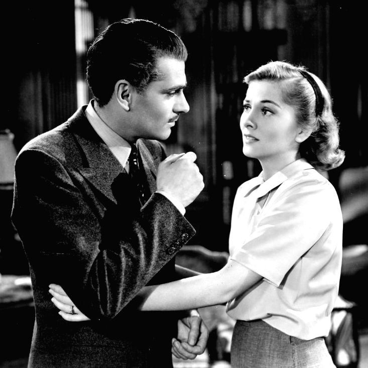 "The 1940 Alfred Hitchcock-directed film version of Daphne du Maurier\'s most-famous work ""Rebecca\"" with Laurence Olivier and Joan Fontaine in the leading roles"