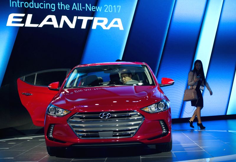 The 2017 Hyundai Elantra is presented at the Los Angeles Auto Show in Los Angeles, the United State, Nov. 18, 2015. Some 30 new vehicles will make their debut ...