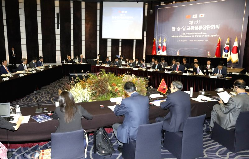 The 7th Korea-China-Japan Ministerial Conference on Transport and Logistics is held at a hotel in downtown Seoul on July 18, 2018. This year's meeting is expected to add new implementation ...