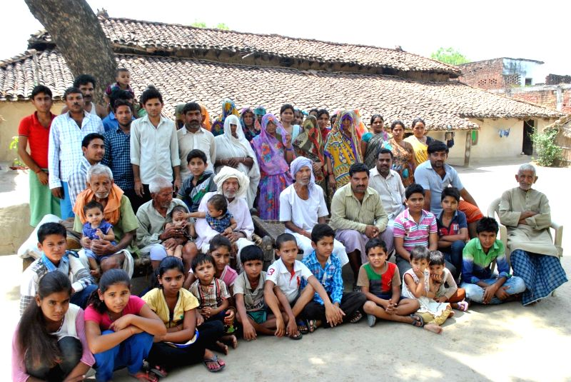 The 81 members of Bhurtiya family who leaves under one roof in Bairaicha village under Koraon tehsil of Allahabad on May 14, 2016. The eldest member of the family Kedar Bhurtiya aged 99.