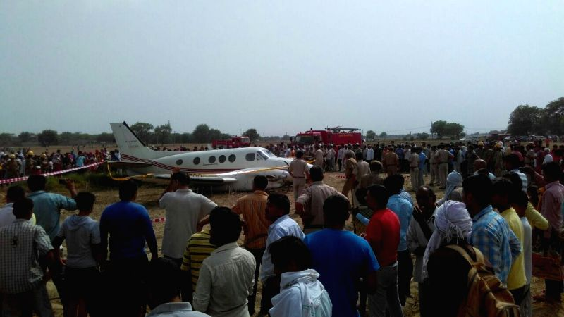 The air ambulance that crash landed in Kair village of Najafgarh in south Delhi on May 24, 2016. Seven people were on board.