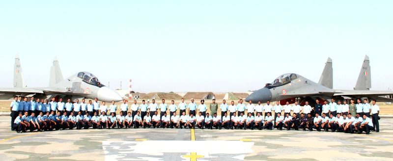 "The Air Officer Commanding-in-Chief Western Air Command, Air Marshal C Hari Kumar with the Squadron personnel of ""THE VALIANTS"" during the induction ceremony of Sukhoi Su-30MKI, at ..."
