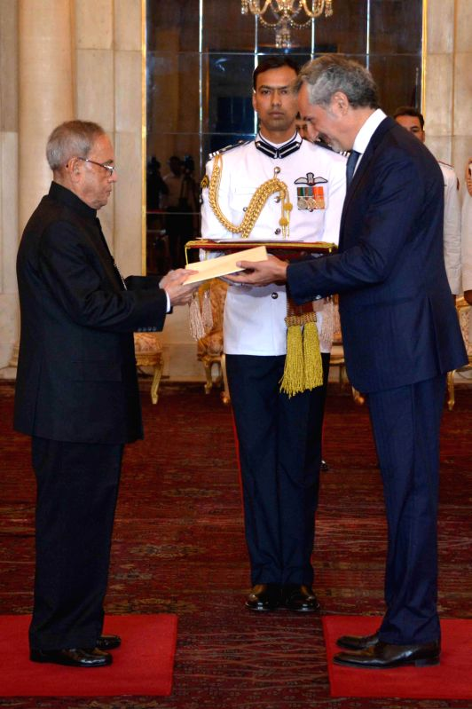 The Ambassador designate of Italy in India,  H.E. Enzo Angeloni presents his credentials to President Pranab Mukherjee during a programme at Rashtrapati Bhawan in New Delhi, on March 18, 2015. - Pranab Mukherjee