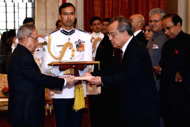 The Ambassador designate of the Republic of the Marshall Islands in India,  H.E. Thomas D. Kijiner presents his credentials to President Pranab Mukherjee during a programme at Rashtrapati Bhawan in ... - Pranab Mukherjee